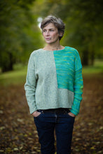 Load image into Gallery viewer, Donegal Colour Block Jumper in Pistachio Green Flecked Merino Wool - Jumper - Megan Crook