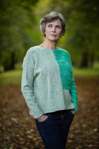 Donegal Colour Block Jumper in Pistachio Green Flecked Merino Wool - Jumper - Megan Crook
