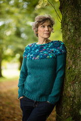 Hand Knit Jumper in Petrol Green Alpaca and Merino Wool - Jumper - Megan Crook