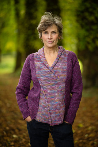 Cross Front Jumper in Plum Pure New Wool and Handpainted Cotton