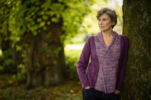 Cross Front Jumper in Plum Pure New Wool and Handpainted Cotton - Jumper - Megan Crook