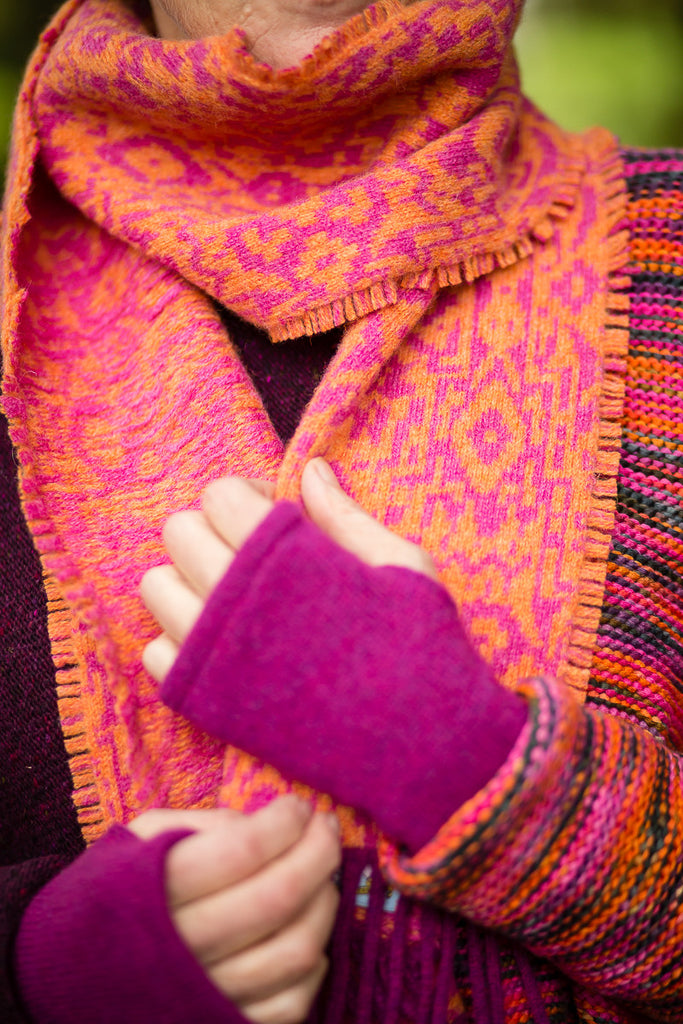 Fair Isle Scarf in Pink and Orange Abstract Pattern Felted Pure ...