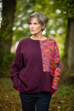 Load image into Gallery viewer, Donegal Colour Block Jumper in Plum Pink Flecked Merino Wool - Jumper - Megan Crook