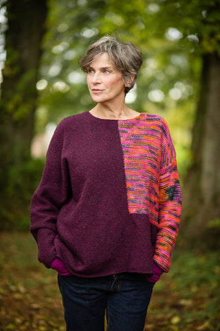 Donegal Colour Block Jumper in Plum Pink Flecked Merino Wool