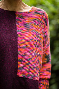 Donegal Colour Block Jumper in Plum Pink Flecked Merino Wool - Jumper - Megan Crook