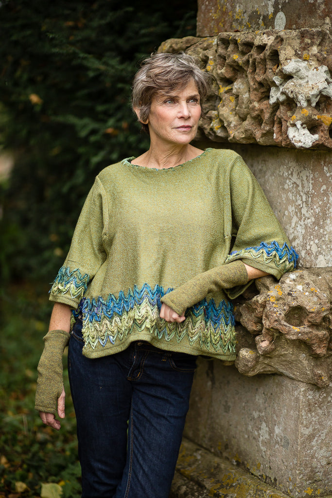 Linen Knit Top in Moss Green with Sari Silk Detail and Kimono Sleeves