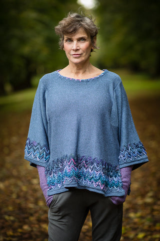 Linen Knit Top in Periwinkle Blue with Sari Silk Detail and Kimono Sleeves