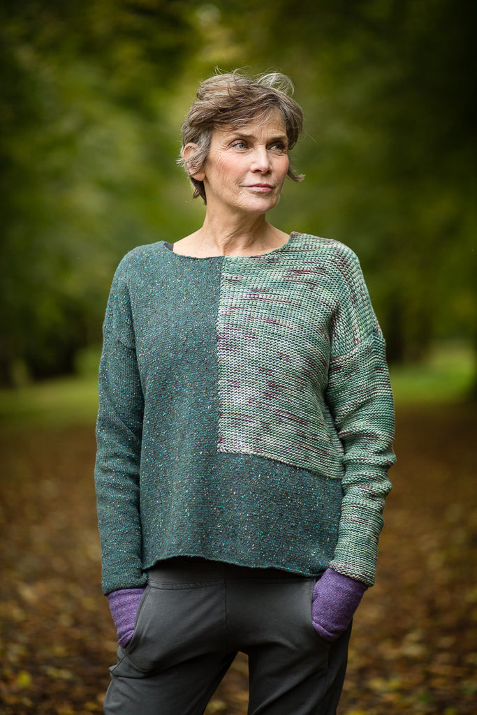 Donegal Colour Block Jumper in Forest Green Merino Wool - Jumper - Megan Crook