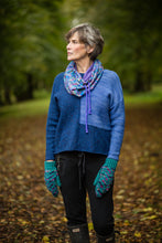 Load image into Gallery viewer, Liberty Snood in Blue, Pink, Purple, Green Multicolour Cotton Fleece - Snood - Megan Crook