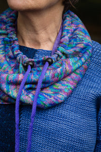 Liberty Snood in Blue, Pink, Purple, Green Multicolour Cotton Fleece - Snood - Megan Crook