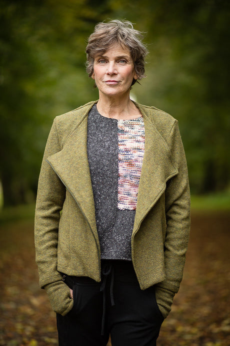 Moto Jacket in Olive Green Felted Pure New Wool - Coat - Megan Crook