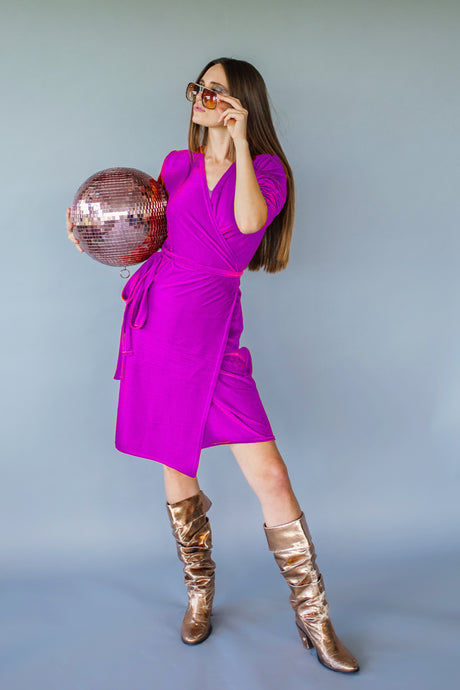 Velvet Wrap Dress in Orchid - Dress - Megan Crook