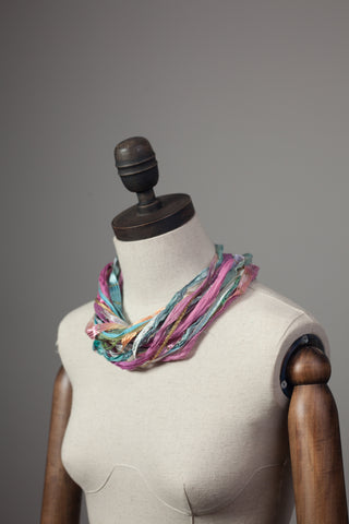 Silk Yarn Necklace in Pale Multi