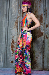 Jersey Flares in Watercolour Digital Print - Trouser - Megan Crook