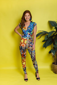 Cross Front Jumpsuit in Stained Glass Digital Print Jersey (MCT) - Jumpsuit - Megan Crook