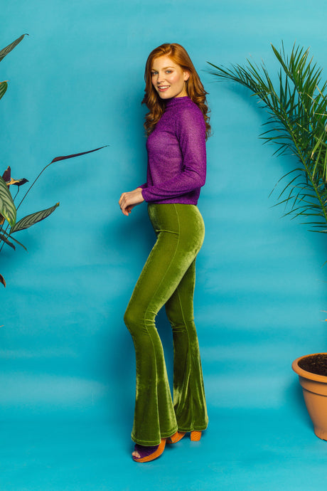 Velvet Flares in Green - Trouser - Megan Crook