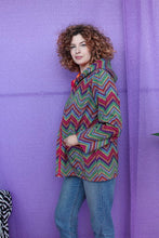 Load image into Gallery viewer, Rain Coat in Digital Rainbow Chevron