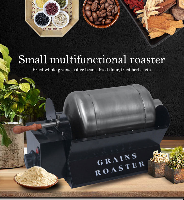 Small household automatic roasting machine for coffee, seeds, and spices