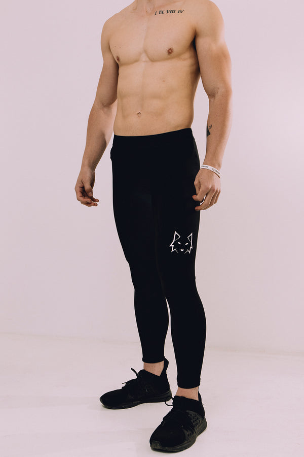 Black Mens Compression Tights - WHITEWOLF