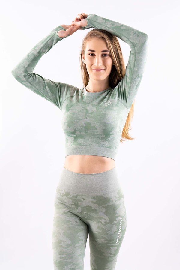 Mint Green Seamless Camo Longsleeve Crop Top - WHITEWOLF