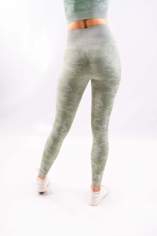 Mint Green Seamless Camo Leggings - WHITEWOLF