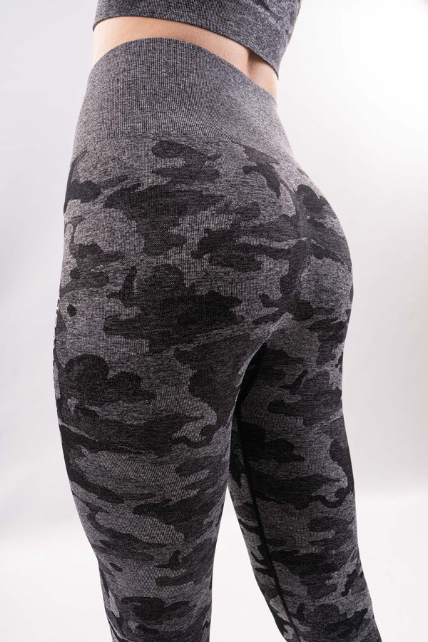 Black Seamless Camo Leggings - WHITEWOLF