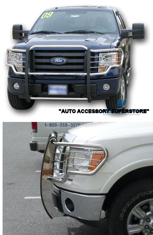 09-14 Ford F150 Pickup (With Tow Hooks; Non Ecoboost Motor) Brush Guard (Chrome Version)