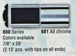 "8-800-26 Black/ Chrome Door Molding (2PC. Kit) 7/8"" Wide by 26Ft. (2) 13Ft. Pieces With Tips on Ends. - Ronusa.com"