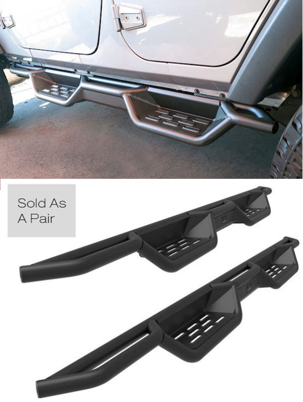 2007-2017 Jeep Wrangler 4DR (Without Factory Rock Sliders) Black (X-Magnum Style) Running Boards - Ronusa.com