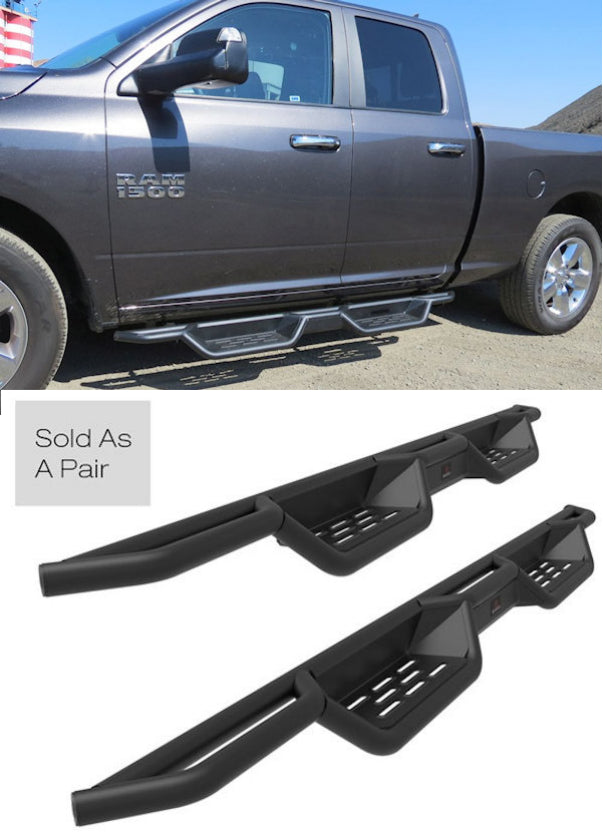 2019-Up Dodge Ram 1500 Quad Cab Black (X-Magnum Style) Running Boards - Ronusa.com