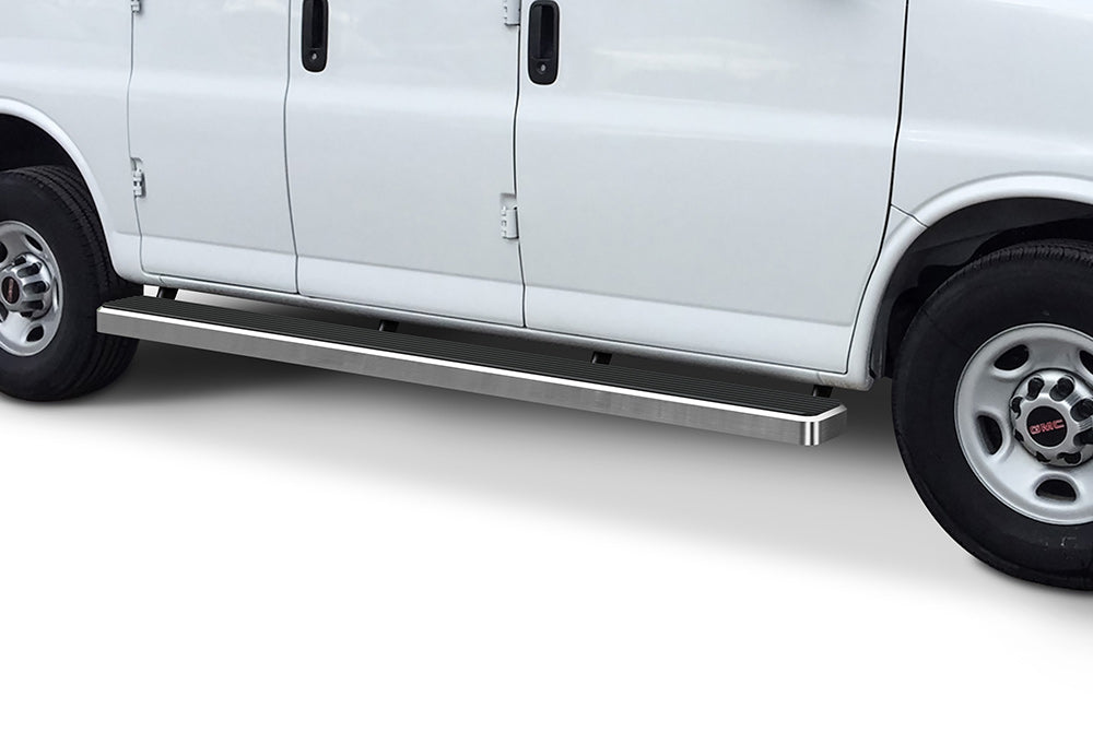 "2003-2021 GMC Savana 135"" WB. Aluminum Running Boards (Brite Side Edge) - Ronusa.com"