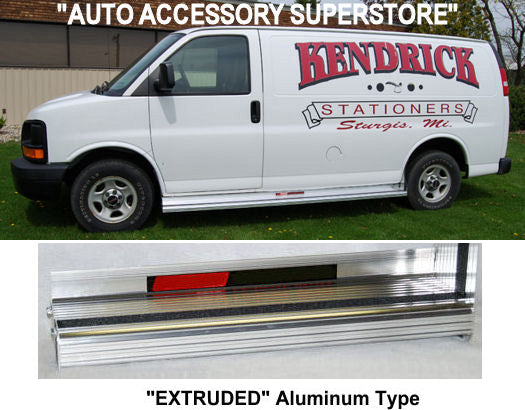 "1997-2021 Chevy Express Van (Without Body Cladding) 155"" WB. Extruded Aluminum Running Boards (2"" Drop) - Ronusa.com"