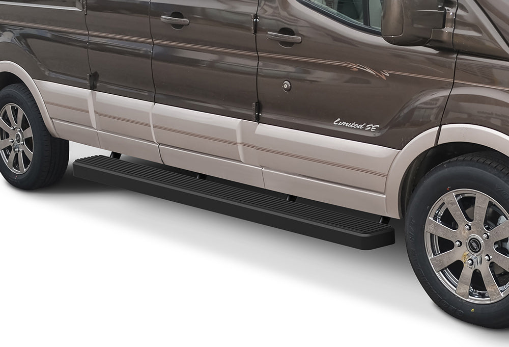 "2015-Up Ford Transit 130"" WB. (150/250 Versions) Aluminum Running Boards (Black Side Edge) - Ronusa.com"