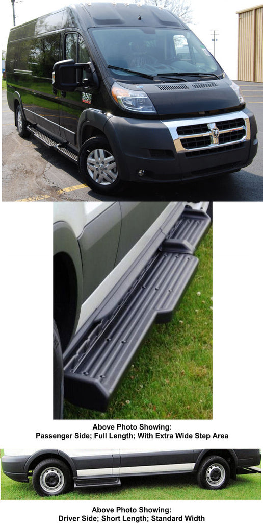 "2014-Up Ram Promaster Van 159"" WB. (Wide Step) TPO Molded Running Boards (Short Drivers Side/ 8.50"" Wide Full Length Passenger Side) - Ronusa.com"