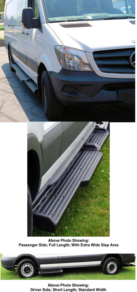 "2010-2019 Mercedes Sprinter 144"" WB. (Wide Step) TPO Molded Running Boards (Short Drivers Side/ 8.50"" Wide Full Length Passenger Side) - Ronusa.com"