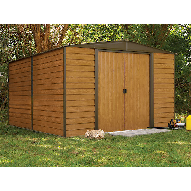 storage shed with brown siding