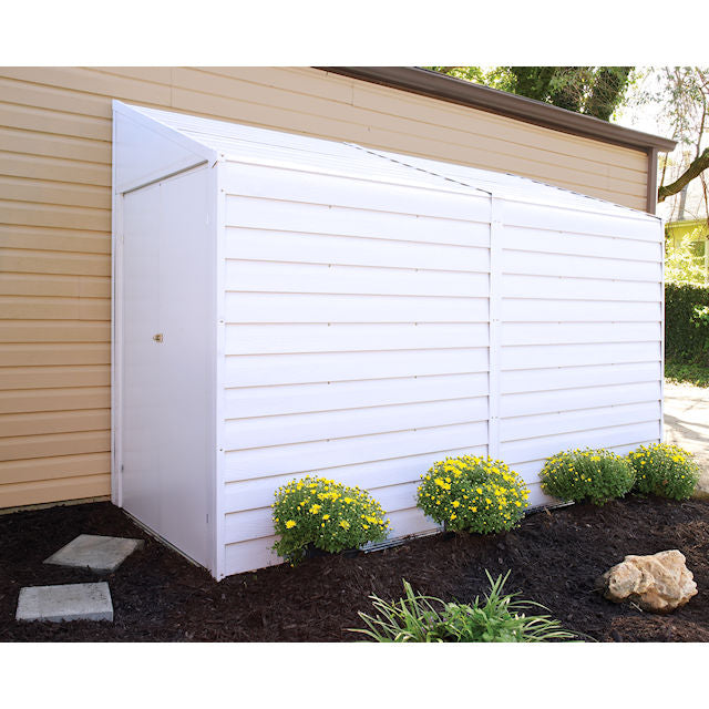 storage shed on side of house