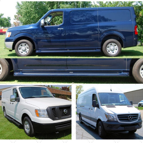 running boards installed on several cargo vans