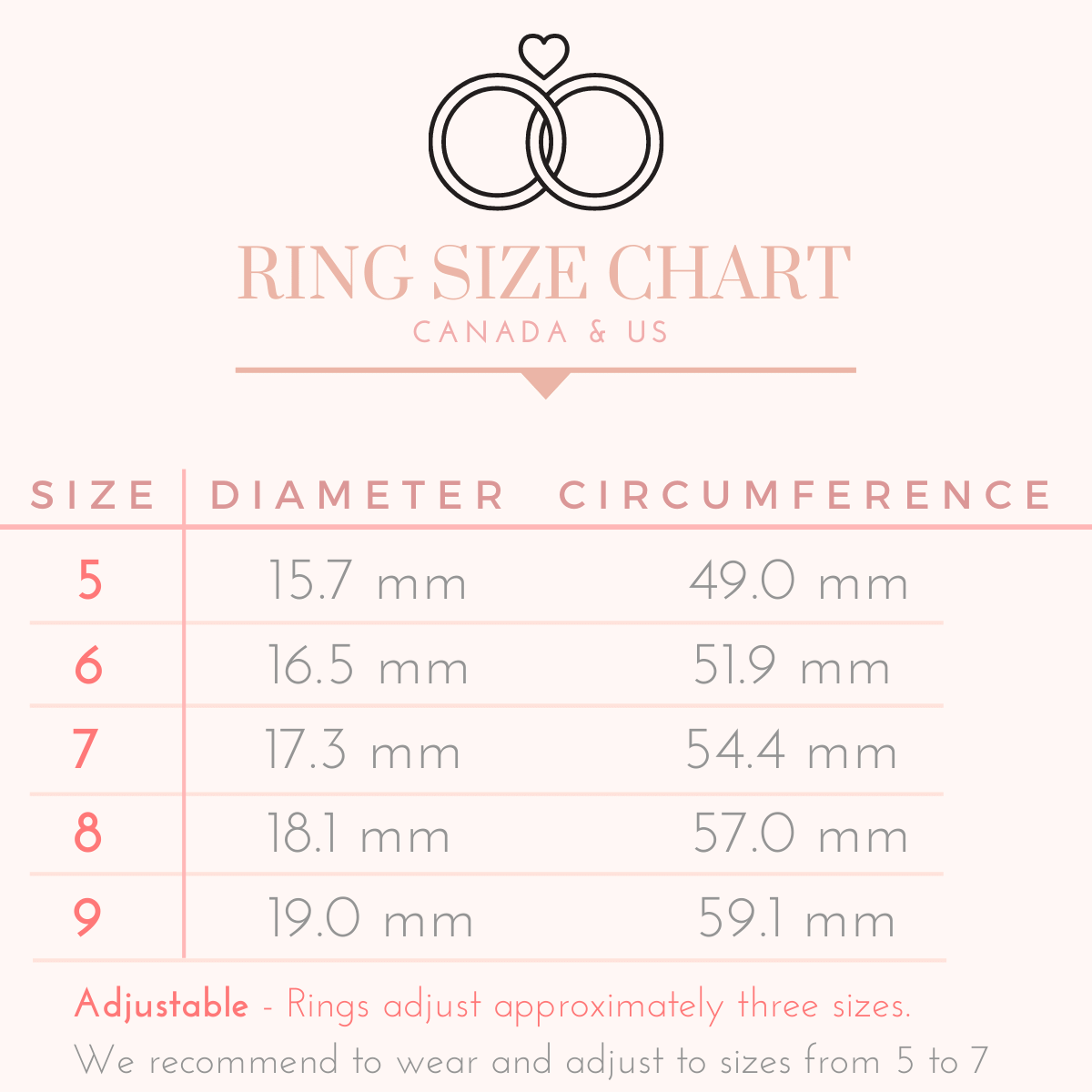 Ring Size Chart Timelessly