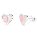 Bicolor Heart Stud Earrings Timelessly