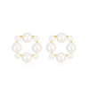 Pearl Circle Stud Earrings Timelessly