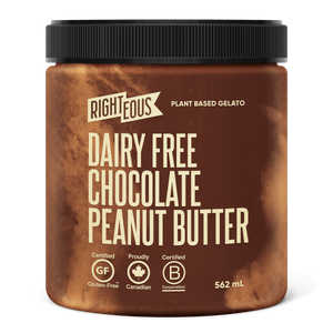 Pint of Righteous Dairy Free Chocolate Peanut Butter gelato