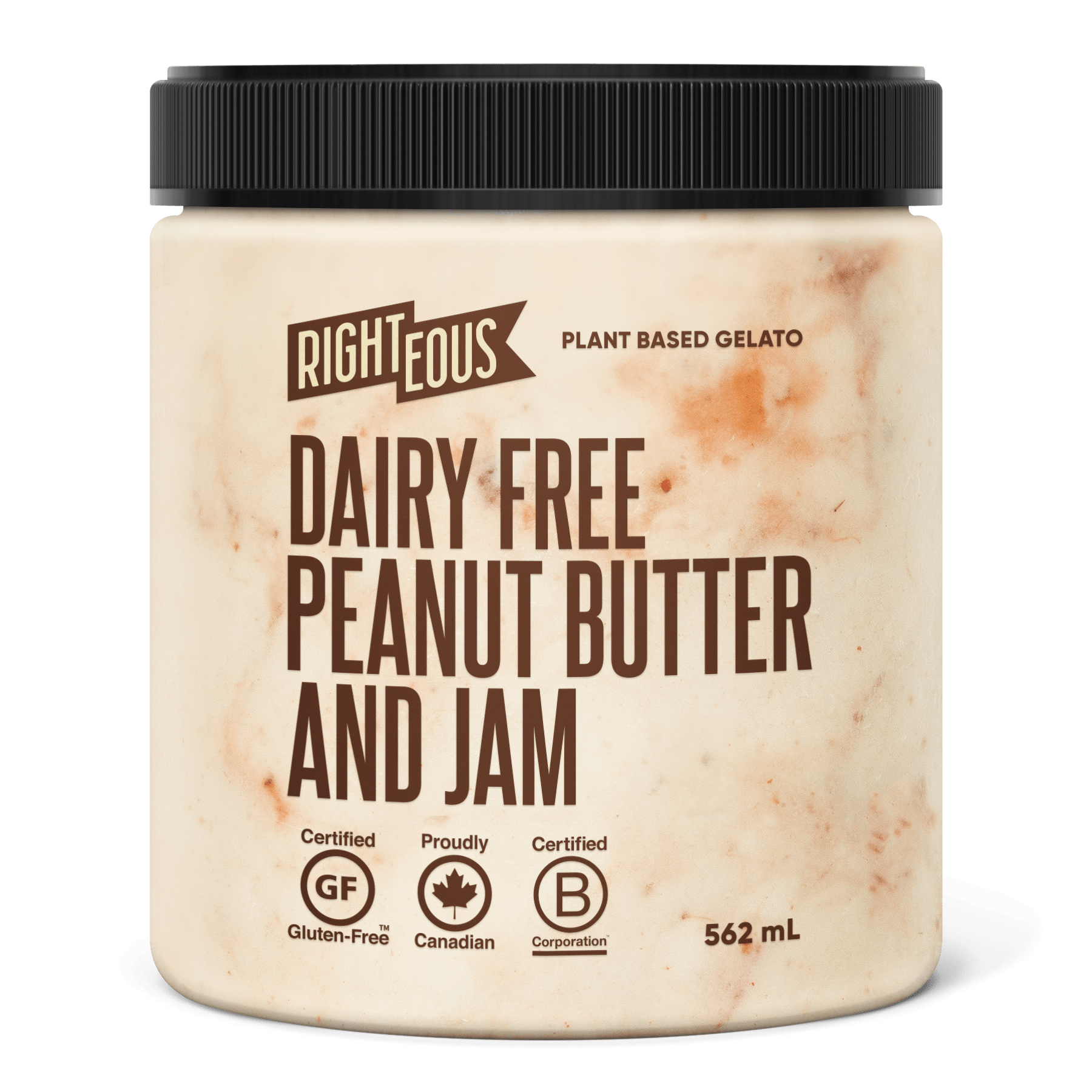 Pint of Righteous Dairy Free Peanut Butter and Jam gelato