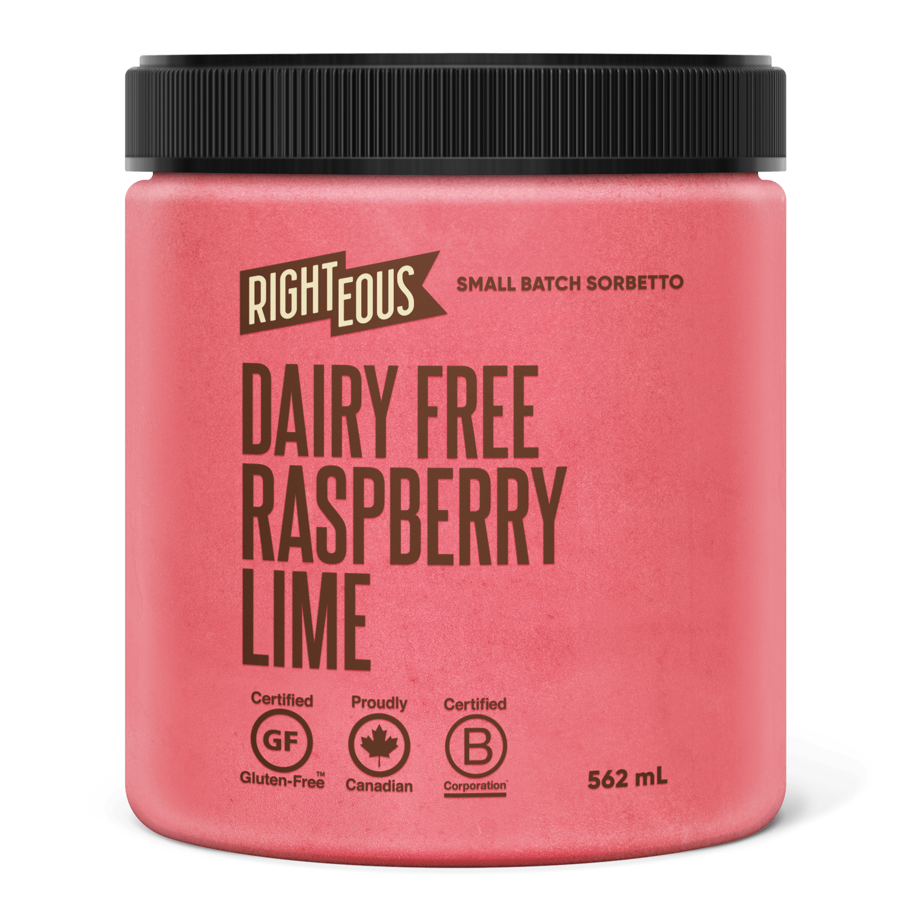 Pint of Righteous Dairy Free Raspberry Lime sorbetto