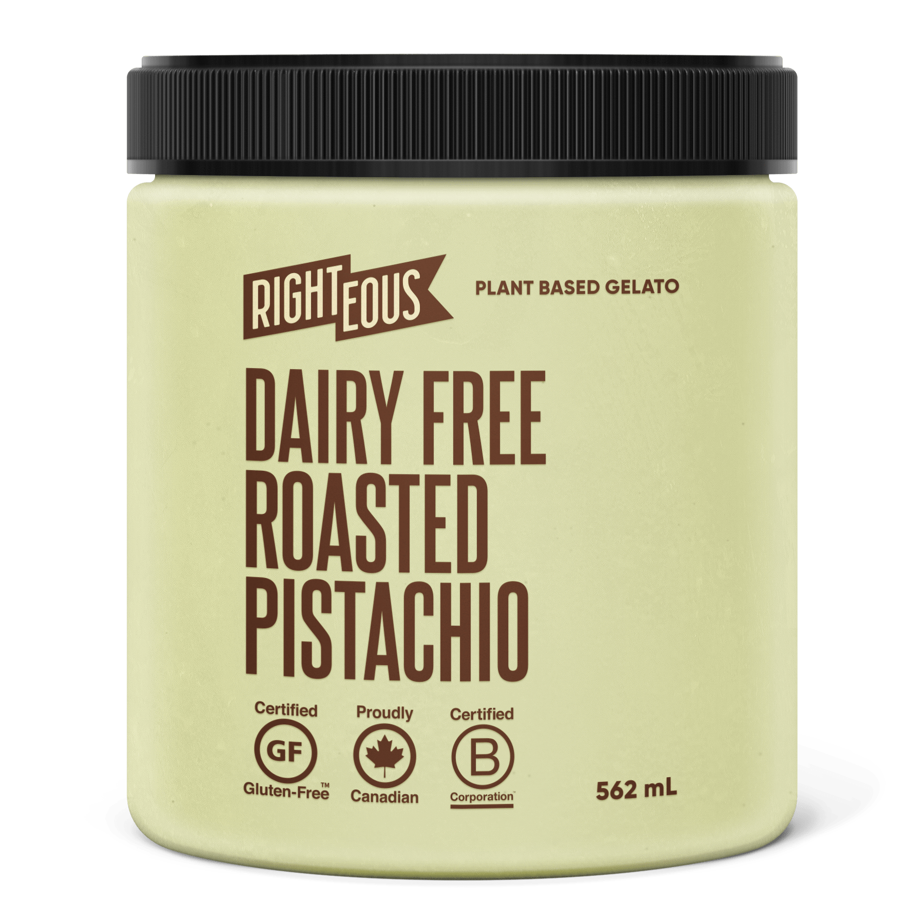 Pint of Righteous Dairy Free Roasted Pistachio gelato