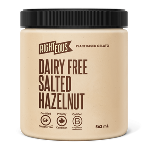 Pint of Righteous Dairy Free Salted Hazelnut gelato