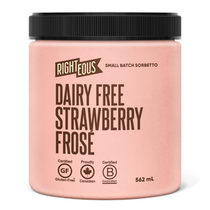 Pint of Righteous Dairy Free Strawberry Frose sorbetto