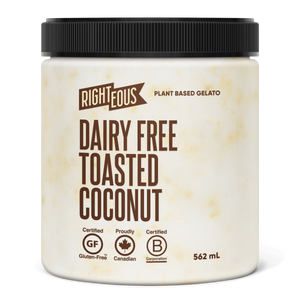 Pint of Righteous Dairy Free Toasted Coconut gelato