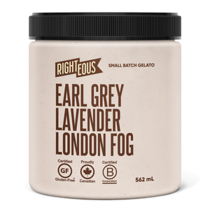 Pint of Righteous Earl Grey Lavender London Fog gelato