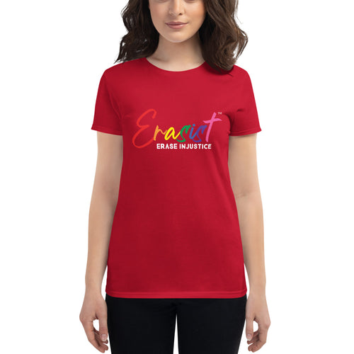 Women's Erasist™ Pride Logo ERASE INJUSTICE Short Sleeve - Erasist | Erase The Hate